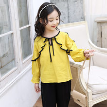 2019 Summer Fall Girls Bow Blouse Kids Baby Girl Clothes Cotton Tops School Blouses Ruffle Sleeve For Girls Short Shirts Child 2018 back to school fall baby girls kids boutique clothes children stripe dress long sleeve apple cotton tops match accessories