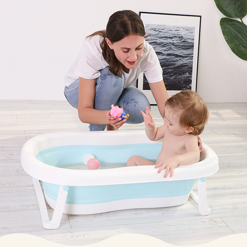 Newborn Baby Folding Bath Tub Portable Children Non-Slip Safe Bathtub Infant Shower Bath Pad Foldable Baby Shower Soft Pillow