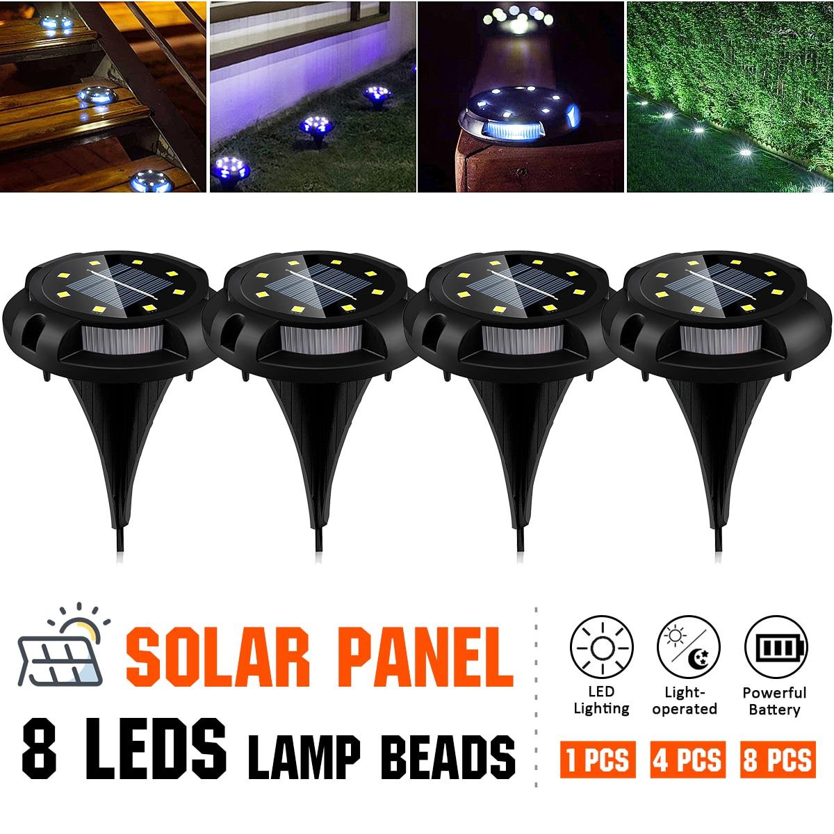 8 LEDs Solar Light Outdoors Solar Lamps for the Garden Terrace IP67 Waterproof In-Ground Light Warm White/Blue Street Lights