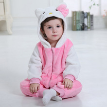 Baby Girl Clothes Kitty Cat Onesie Kawaii Cute Romper Kids Winter Warm Pajama Flannel Jumpsuit Newborn Toddler Costume Kigurumis