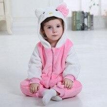Baby Mädchen Kleidung Kitty Katze Onesie Kawaii Niedlich Romper Kinder Winter Warm Pyjama Flanell Overall Neugeborenen Kleinkind Kostüm Kigurumis