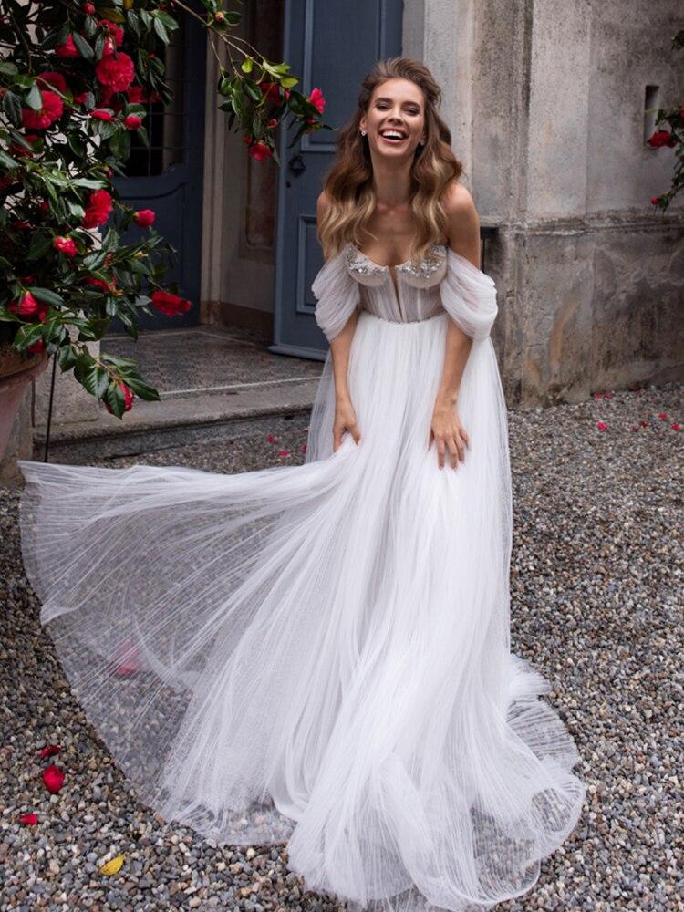 Swanskirt Wedding-Dress Detachable Bridal-Gown Sweetheart Ruched Off-Shoulder Beaded