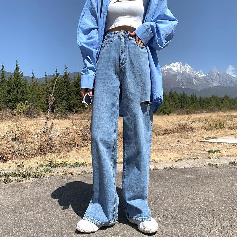 Split Hem Ripped Hole High Waist Wide Leg Straight Loose Extra Long Jeans For Women Tall XS S M L XL