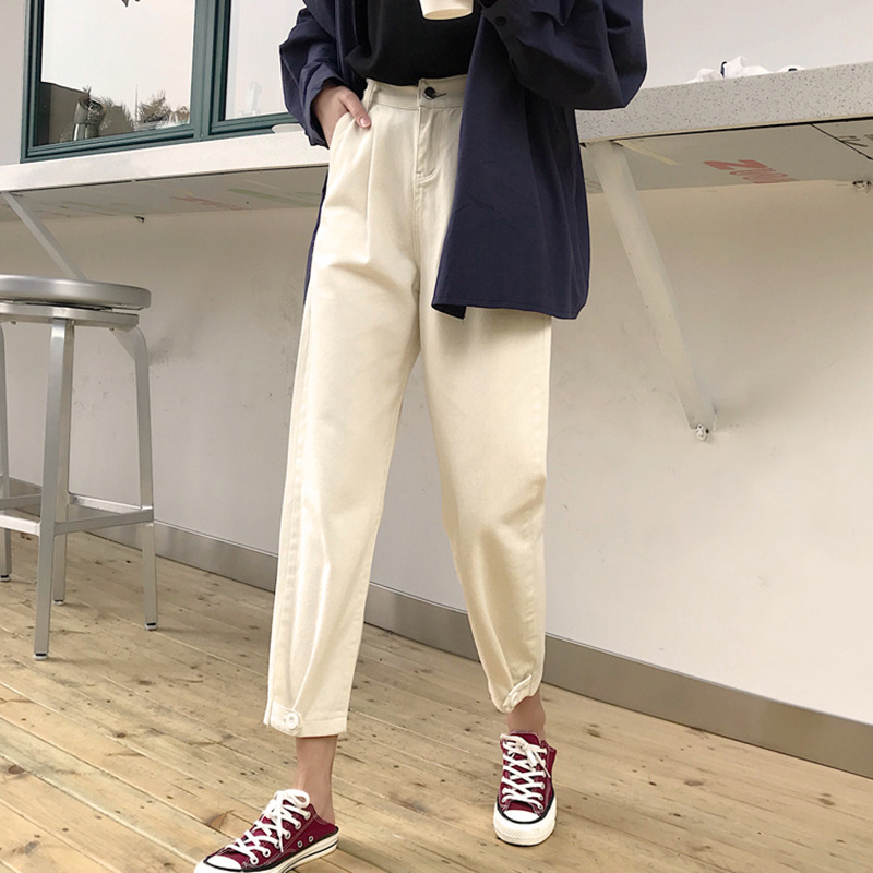 Korean-style Loose Straight Jeans Children 2019 Spring Clothing New Style Students High-waisted Slimming Workwear Casual Capri P