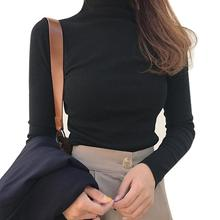 Sexy Top Women Shirts Casual Solid Color Base Shirt Long Sleeve Turtle Neck Slim Top Black White All-match Simple T Shirt