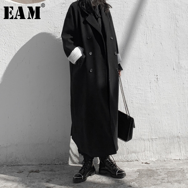 [EAM] Loose Fit Black Brief Long Big Size Woolen Coat Parkas New Long Sleeve Women Fashion Tide Spring Autumn 2020 19A-a580