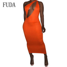 FUDA Sexy Knitted Pencil Dress Women Off Shoulder Long Bodycon Party Elegant Summer Dress Newest Sleeveless Hollow Out Dresses цена и фото