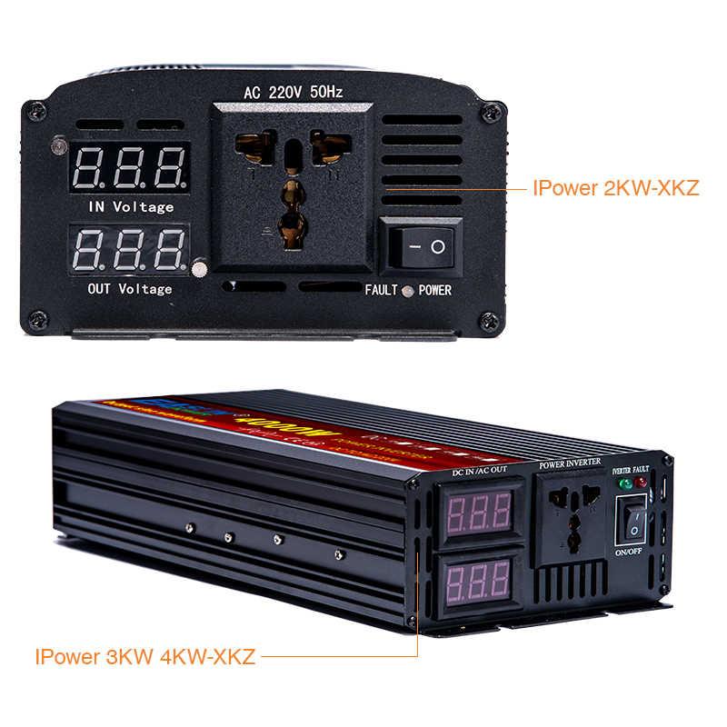 Czysta fala sinusoidalna przetwornica napięcia 2000W 3000W 4000W 12V 24V 220V transformator napięcia DC 12V do AC 230V konwerter z 2 wyświetlaczem LED