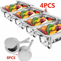 (EU Warehouse) 4Pcs 9L Chafing Dish Food Warmer Holding Tank Stainless Steel Warmer Tray Folding Chafer for Buffet Caterings