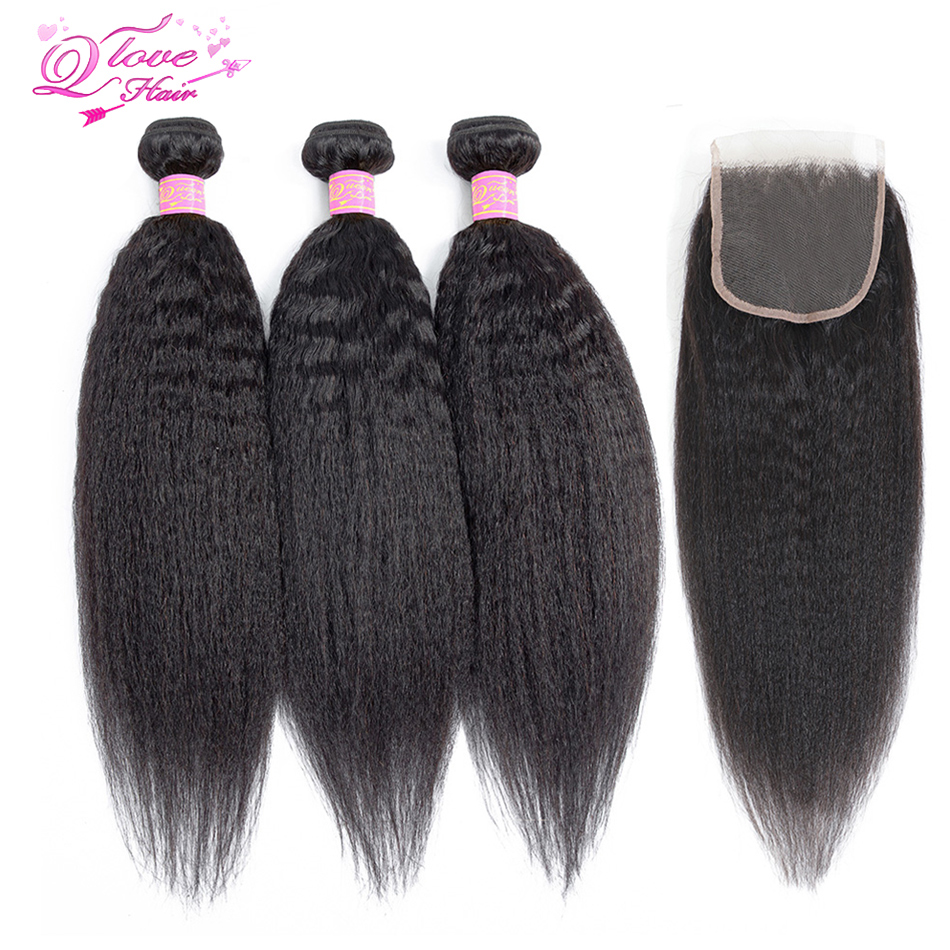 Queen Love Yaki Straight Hair Bundles With Closure Peruvian Human Remy Hair Lace Closure Free Shipping 3 Bundles With Closure