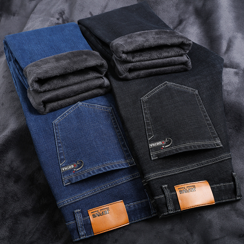 2020 Thick Fleece Warm Jean Men Brand Clothing Autumn Winter Black Blue Denim Pants Male Quality Solid Trousers Plus Size  44 46