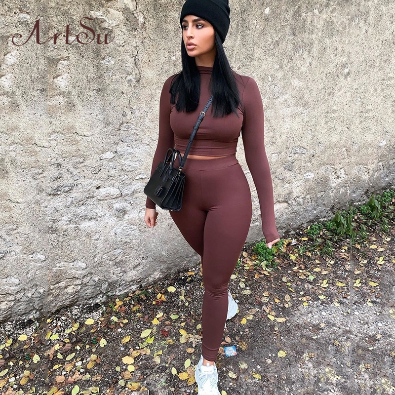 Artsu Sexy Two Piece Set Top And Pants Wholesale Clothing For Women Outfits Twinset Sports Tracksuit Streetwear ASSU60929