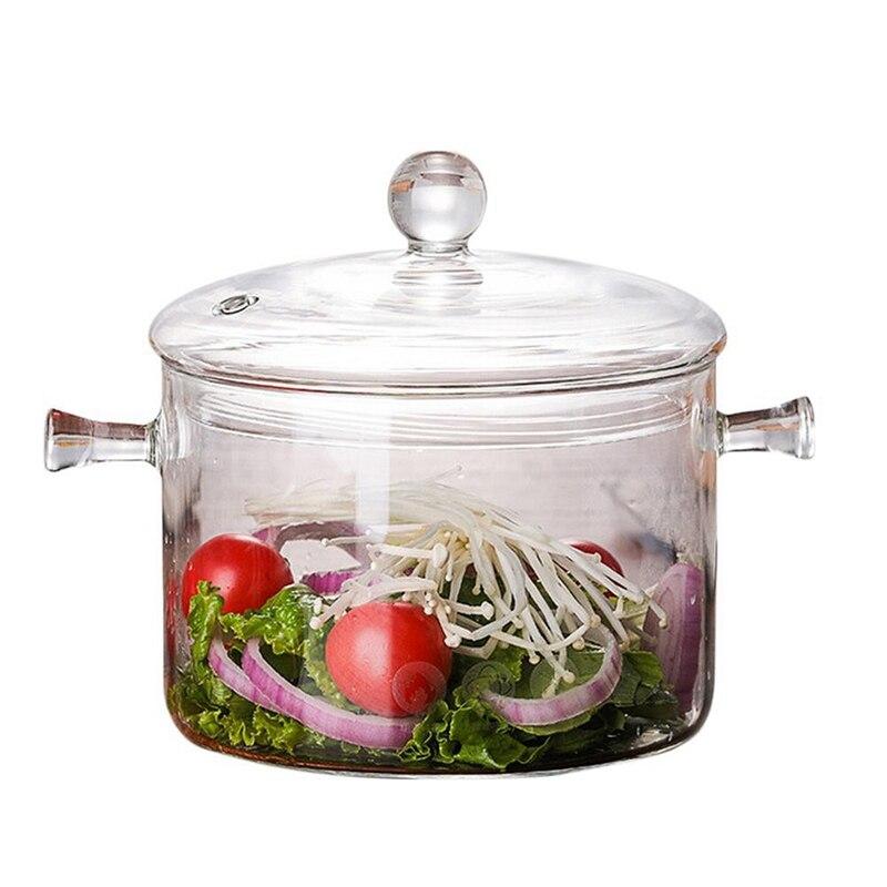 Transparent 1300ML Glass Soup Pot Ceramic Stove Heating Bowl Cooking Tool