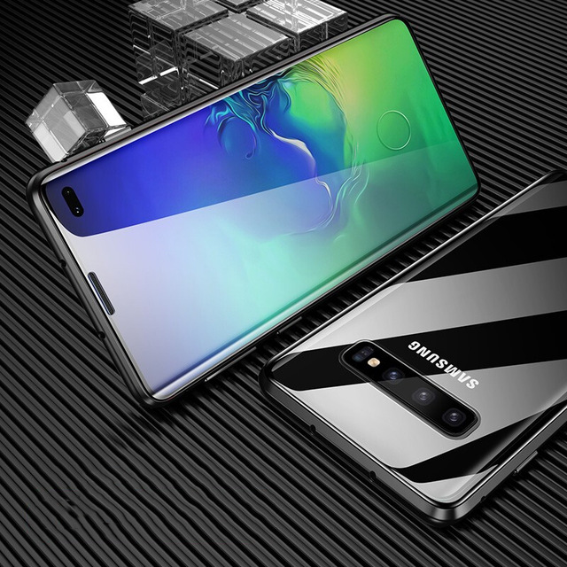 Double-Sided Magnetic Full Protect Case For Samsung Galaxy S8 S9 S9plus S10 S20 S20plus Note9 Note10 Tempered Glass Back Cover