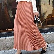 Womens Solid Pleated Elegant Midi Elastic Waist Maxi Skirt Denim