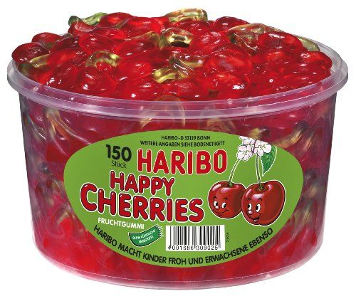 Haribo Happy Cherries, Gominolas De Futa, 150 Unidades, Tarro De 1200 G