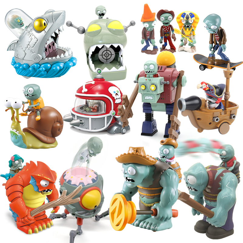 Plants vs Zombies Shooter Set Pull back Gargantua PVC Action Figure Model Toy and Cards High Quality Shooting Toys Gift For boys