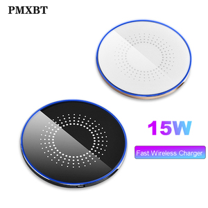 Image 1 - 15W Wireless Induction Charger For iPhone 8 Plus 11Pro Samsung S10 S9 Huawei P30 Pro Qi Fast Wireless Charging Pad Phone Charger