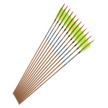 """12pcs Archery Spine400 500 600 Carbon arrows ID6.2mm 5"""" Turkey fletching feather 100gr field tip for traditional bow hunting"""
