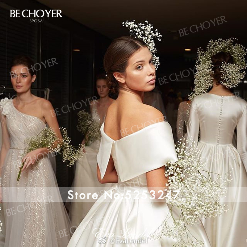 Image 4 - Simple Off Shoulder Wedding Dress BE CHOYER EL04 Satin Zipper A Line Court Train Princess Bride Gown Customized Vestido de NoivaWedding Dresses   -