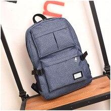 School Book Bag Canvas Laptop Backpack Waterproof Work with USB Charging Port