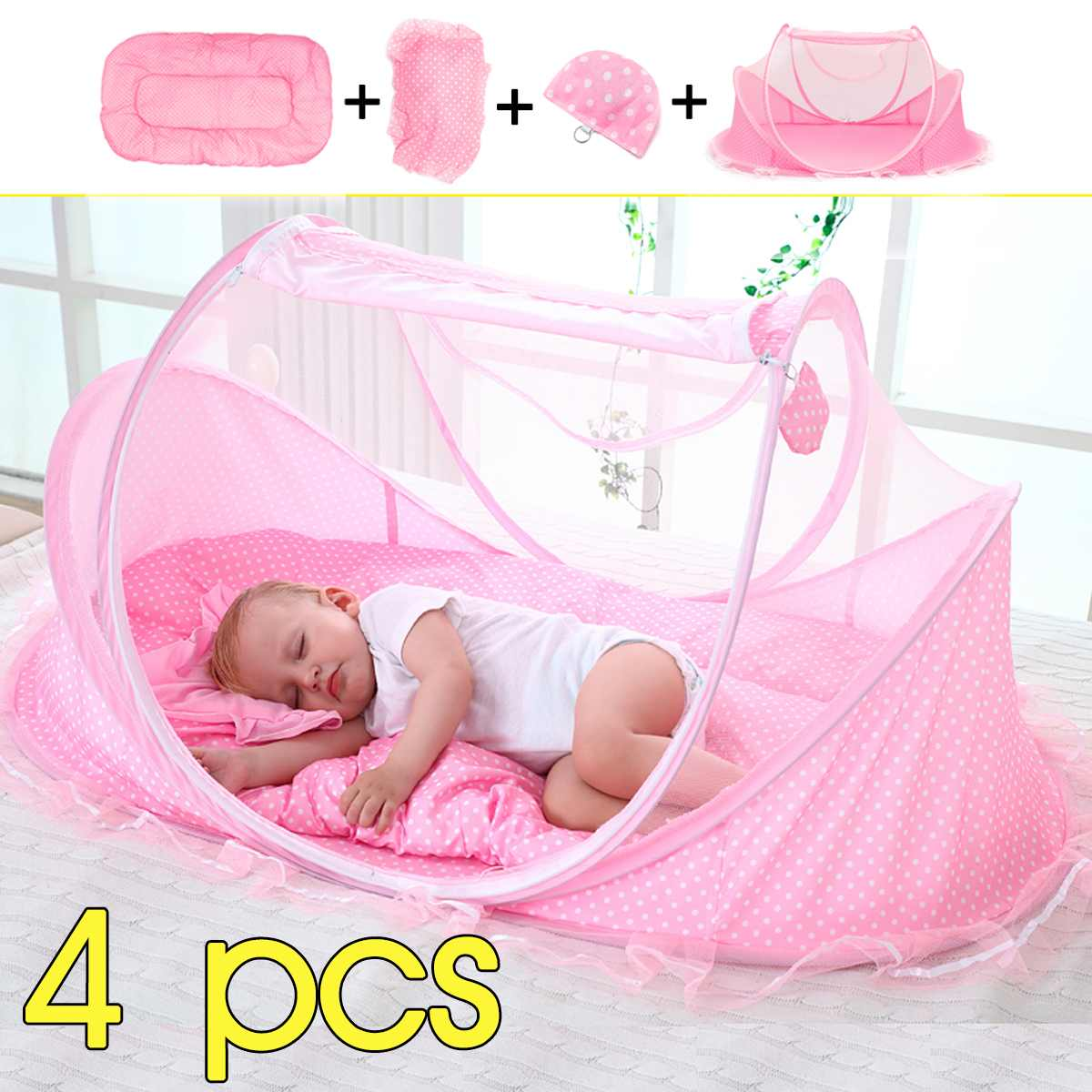 4 pcs baby pillow set with one pillow