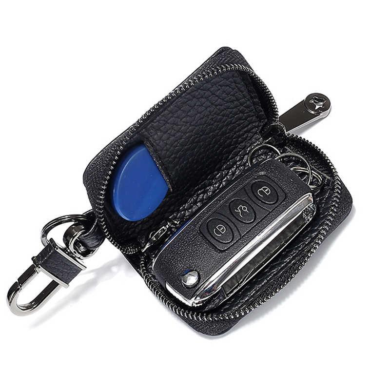 עור אמיתי רכב מפתח ארנק גברים & נשים מותניים נתלה סוכנת בית מפתחות ארגונית אוטומטי Keychain רוכסן פאוץ מפתח מקרה תכליתי