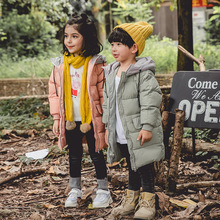 цены 2019 Winter White Duck Down Hooded Children's Down Coats Kids Parkas Coats For Baby Girl Clothes And Boys Long Outerwear Clothes