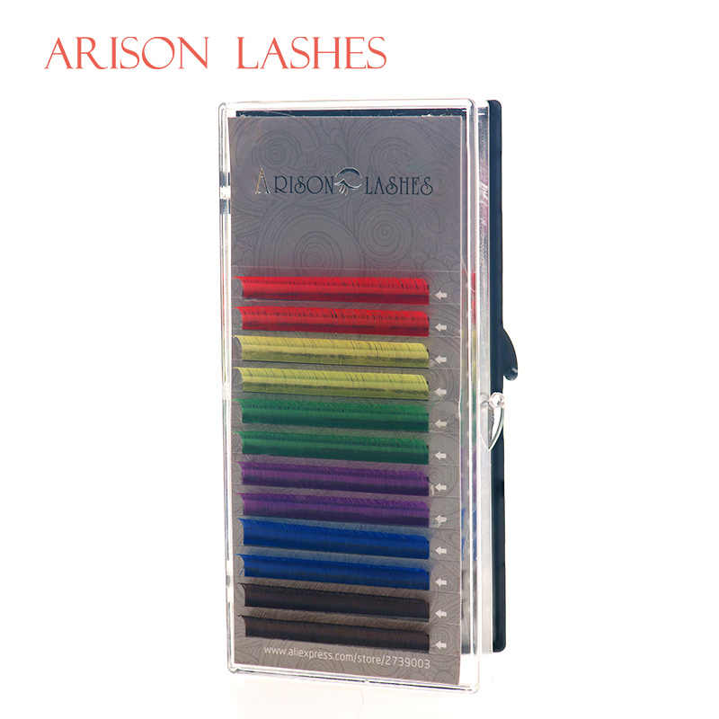 Arison Lashes 12 Lines 6 Colors Individual Eyelash Extension Rainbow Colored Eyelashes Natural Eye Lashes Extensions Mix Tray