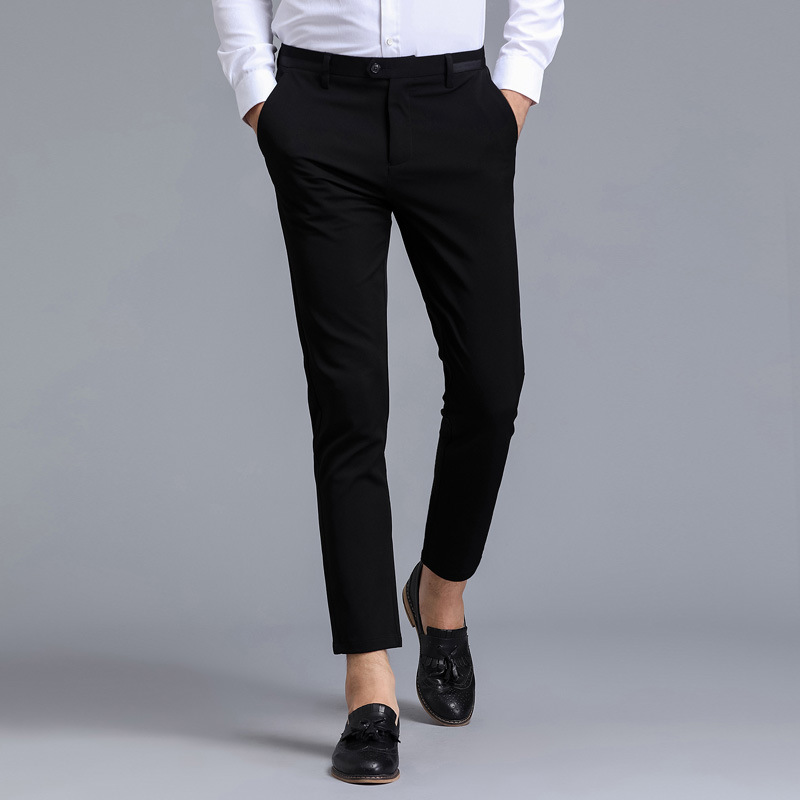 Summer Men's Casual Pants Trend Youth MEN'S Trousers Business Anti-wrinkle Breathable Straight-Cut Elasticity Slim-Fit Pants