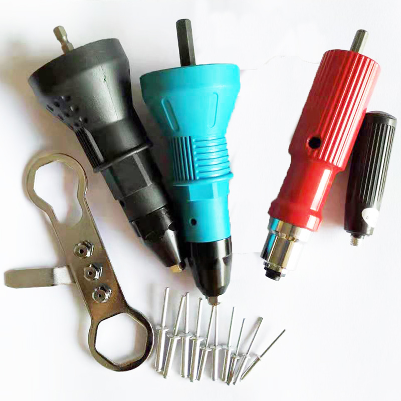 Electric Rivet Nut Gun Riveting Tool Cordless Riveting Drill Adaptor Insert Nut Tool Riveting Drill Adapter 2.4mm-4.8mm