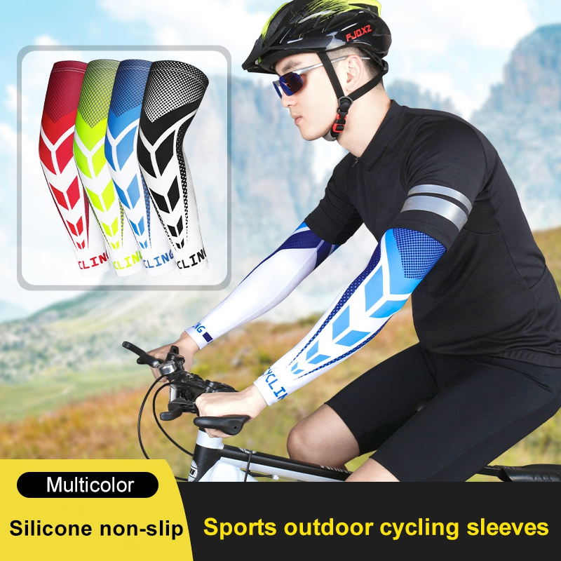1 Pair Cycling Arm Sleeves Sports Basketball Arm Compression Sleeve Summer Sunscreen UV Protection Arm Cover Running Arm Warmer