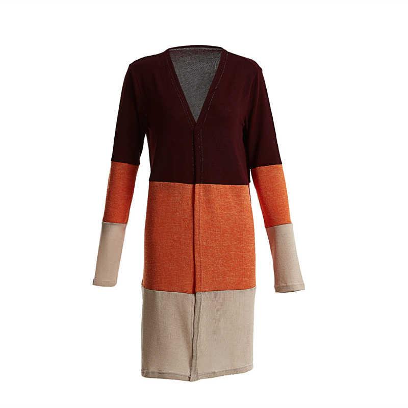 Cardigan Casual de Otoño de manga larga de punto suéteres Colorblock largo Mujer Jumper abierto frontal suelto Cardigan Pull