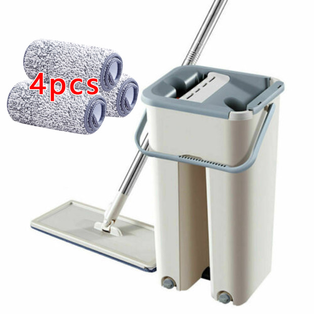 Flat Squeeze Mop And Bucket Hand Free Wringing Floor Cleaning Microfiber Mops Uk|Hand Push Sweepers| |  - title=