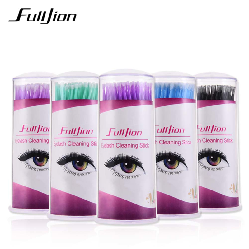 100Pcs Eyelash Cleaning Sticks Micro Brushes Eyelashes Extension Cotton Swab Brushes For Eyes Remove Disposable Makeup Tool