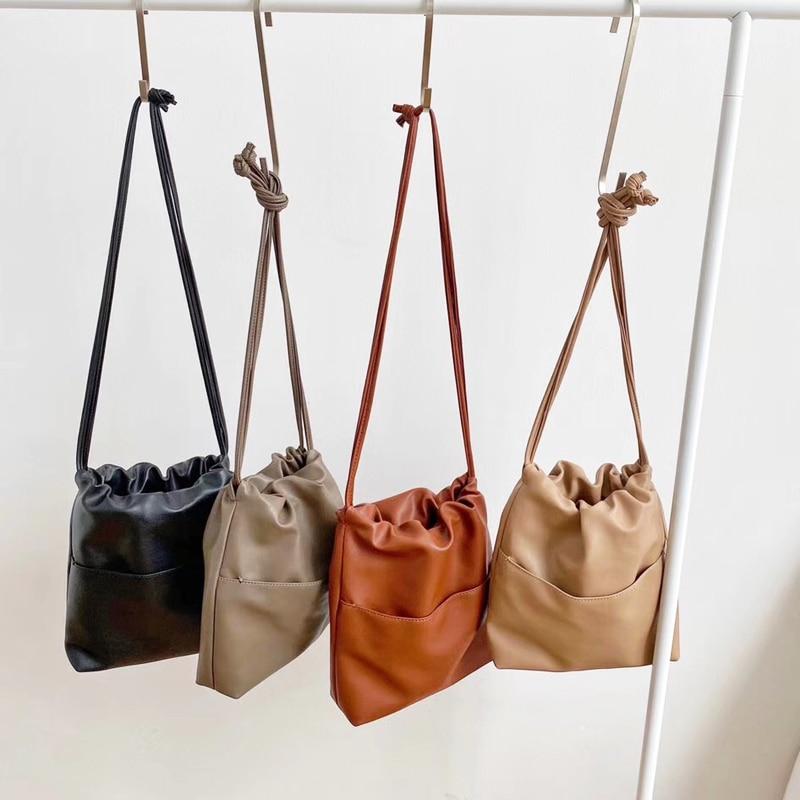 Image 2 - 2020 New Casual Women Bag Small Drawstring Bucket Bag PU leather  Soft Youth Handbag Ladies Crossbody Shoulder Bag Whole SaleShoulder  Bags