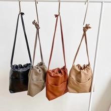 2020 New Casual Women Bag Small Drawstring Bucket Bag PU leather Soft Youth Handbag Ladies Crossbody Shoulder Bag Whole Sale