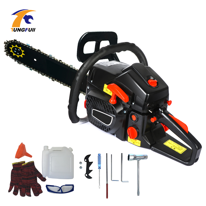 Gasoline Chain Saw Wood Pruning Cutting Power Tools Gas Gasoline Powered Chainsaw 5000W 2-stroke image