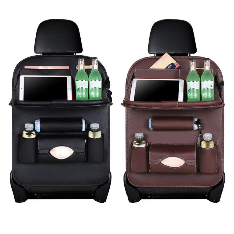 Baby Car Seat Storage Hanging Bag Leather Belt Tray Folding Folding Plate Car Seat Baby Toys Bag