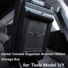 Pour Tesla Modèle 3 Console centrale Organisateur Accoudoir Boîte De Rangement Cachée Voiture Model Y Accessoire D'accoudoir Automatique Boîte De Support