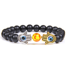 Fatima Hand Bracelet Mens Bead Bracelets Evil Eye Amulet Natural Stone Onyx of Hamsa For Men Women