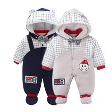 Christmas Clothes Autumn Winter Baby Rompers Newborn Cottons Jumpsuit Infant Boys Girls Hooded Thicken Outwear ropa bebe(China)