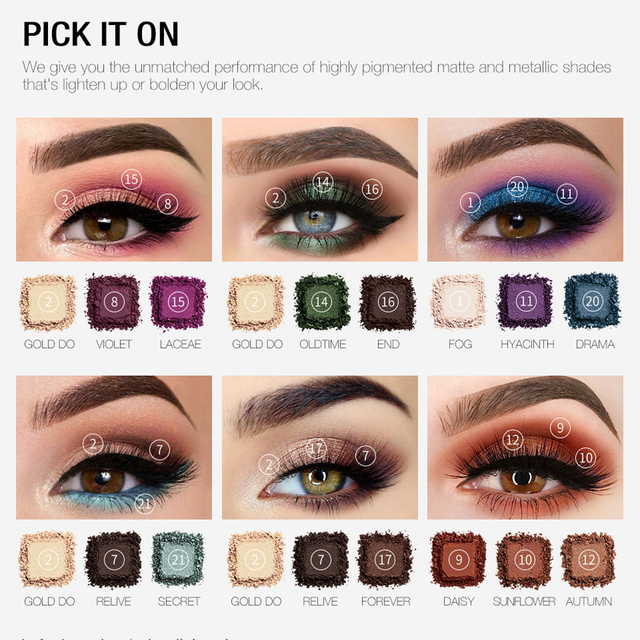 O.TWO.O Darling Eyeshadow Palletes 21 Colors Ultra Fine Powder Pigmented Shadows Glitter Shimmer Makeup Eye Shadow Palette 1