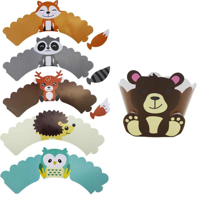 בעלי החיים סנאי איילים ינשוף שועל קיפוד מסיבת סט יום הולדת תינוק להראות דקור Cartoon עוגת נייר כוס/צלחת/דגל הודיה אספקה