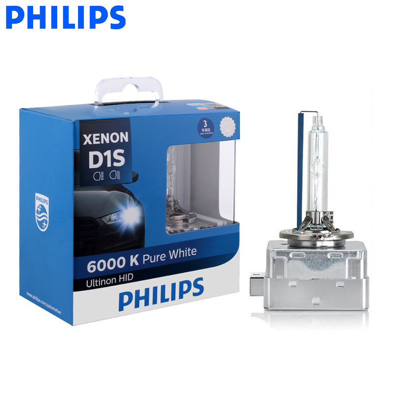 Philips Original D1S 85410WX 35W Xenon Ultinon HID 6000K Bright White Light Car Upgrade Headlight Lamps Flash Quick Start, Pair