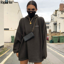 Rapwriter Streetwear Fake 2 Pieces Oversized Turtleneck Hoodie Women Casual Loose Pullover Letter Long Sweatshirt Pullover Tops