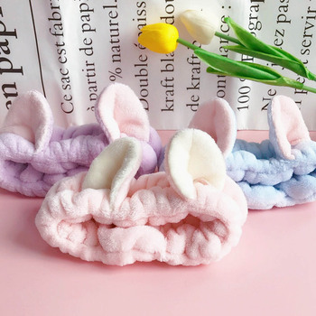 2021 New Arrivals Lovely Cat Ears Coral Fleece Headbands For Women Wash Face Makeup SPA Soft Hairbands Headwear Hair Accessories image