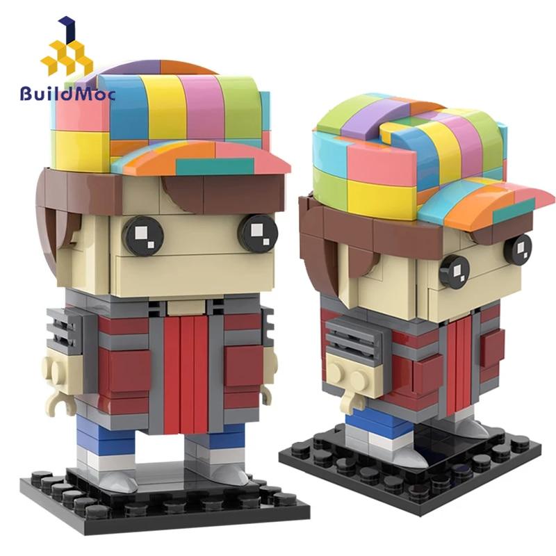 Buildmoc Movie Brickheadz Back to the Futured Marty McFly Figures Doll Building Blocks Bricks Educational Toys For Kid Boys Gift