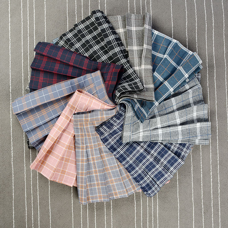 Short Dress Tennis Skirts Pleated Plaid Skirt High Waist