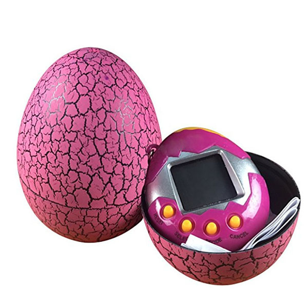 Electronic Pets Child Toy Key Digital Pets Tumbler Dinosaur Egg Virtual Pets Rose Red